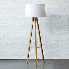Tripod floor lamp, ash base/white cotton blend shade: West Elm