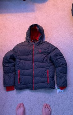 Grey and red Spyder jacket. Great for cold/snowy days. thermal warmth. Store price $199 Snowy Weather, Snowy Day, Thermal Jacket, Winter Jackets, Cold, Store, Grey, Winter Coats, Gray