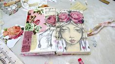 A short video of me creating a mixed media girl art journal page. Shows the background technique using old vintage papers and ephemera, with acrylic paints and sketching of the girl on the top. Lovely vintage pink roses finish off this gorgeous shabby inspired work!