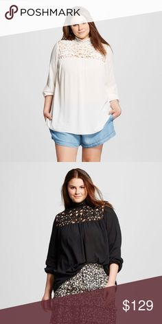 ISO Mock Neck Gauze Top - Who What Wear In search of The Who What Wear™ Women's Plus-Size Mock-Neck Gauze Top has a peekaboo vibe, thanks to its shoulder-cutout accents. Size 2x cream or black doesn't matter whowhatwear Tops