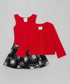 Black Floral Dress & Red Cardigan