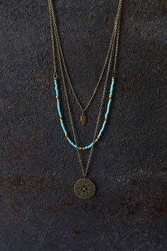 Boho necklace, layered necklace, hippie necklace, mandala necklace, boho…                                                                                                                                                                                 More #necklacesjewelrystyle #handmadenecklace
