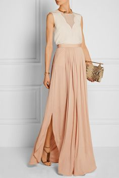 Blush crepe de chine Concealed hook and zip fastening at side 100% viscose; lining: 100% silk Dry clean Designer color: Achrome Nude 5