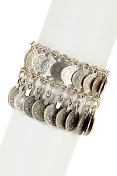 """Coin Drop Chain Link Bracelet $60 - $30 @HauteLook. - Antique silver plated assorted coin drop chain link bracelet - Hook clasp - Approx. 7"""" length with 1.5"""" extension - Approx. 2"""" width - Antique silver plated pewter metal Silver cleaning cloth"""