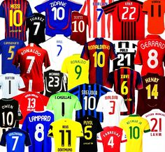 Shirt collection of my favourite players. These include best individual performers from 2005-2017 in my opinion. The shirts i have choosen belong to players who at a certain point dominated football pitch and were a joy to watch!