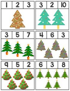 $1 | Clip cards featuring Christmas Trees to help teach numbers 1-10. Super easy prep! 12 cards total. #mathcenters #math #preschool #preschoolers #preschoolactivities #kindergarten #Homeschooling #teacherspayteachers