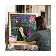 Chalk'd Liquid Chalk Markers http://www.amazon.com/Chalk-Markers-Reversible-Chalkboards-Satisfaction/dp/B00PHMPXIA