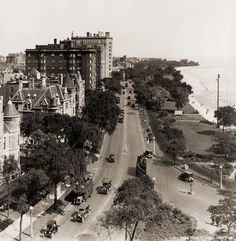 Chicago, 1924. Lake Shore Drive. This looks like it might be from the approximate location of the Drake Hotel, where Michigan Ave. meets the Drive.