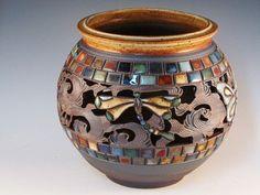 Large Vase With Dragonflies Butterflies Cutouts Tiles by potmaker, $84.00