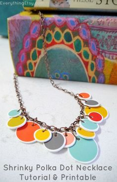This weekend, make a fun, colorful fashion statement with this Shrinky Dinks polka dot necklace tutorial! Necklace Tutorial, Diy Necklace, Necklaces, Easy Handmade Gifts, Diy Gifts, Bling Bling, Shrinky Dinks, Bijoux Diy, Polymer Clay Jewelry