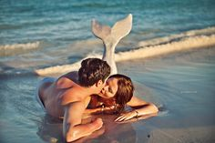 mermaid tail, mermaid boudoir, beach couples boudoir