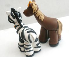 Horse and Zebra Couple Figures Cake Topper CAN BE by KenzCreations