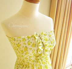 Smocked Dress with Ruffles and Beads Lime Green by Cherrilynne, $39.00
