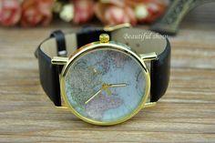 world map watch black leather watch wrap watch by beautifulshow 599