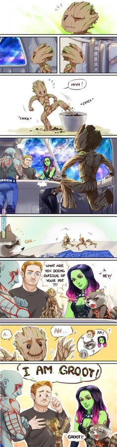 Baby Groot←Peter looks so pround! And Rocket may feel like his toddler just learned to talk :) Baby Groot is so precious! Marvel Dc Comics, Marvel Jokes, Ms Marvel, Heros Comics, Funny Marvel Memes, Bd Comics, Dc Memes, Funny Memes, Hulk Funny