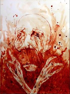 """""""Looking at the Firmament"""" blood artwork by Priest of Terror"""