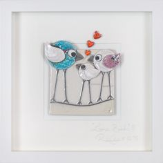 Love Birds Family ii Sm The perfect piece to celebrate a wonderful little new arrival, or to congratulate anyone on theirs. Love Birds, Clay Art, Pottery, Handmade, Ceramica, Hand Made, Pottery Marks, Ceramic Pottery, Pots