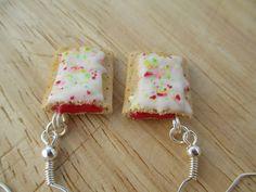 Strawberry Poptart Earrings Handmade Polymer by FlourCityCharms