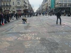 Messages on the floor of the place de la bourse after the attempts on brussels