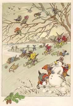Snow business, by Fritz Baumgarten Art And Illustration, Christmas Illustration, Illustrations Posters, Noel Christmas, Christmas Images, Vintage Postcards, Vintage Images, Yule, Baumgarten