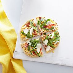 Grilled Corn and Bacon Pizzas with Baby Arugula