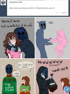 And in that moment, we were all ej update: this is one of my most often saved pins i love thi Creepypasta Ticci Toby, Scary Creepypasta, Creepypasta Proxy, Laughing Jack, Jeff The Killer, Creepypasta Wallpaper, Creepy Pasta Family, Eyeless Jack, Memes