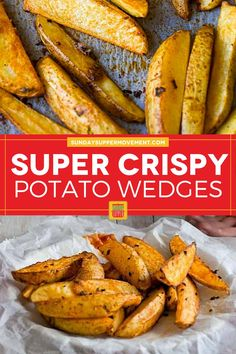 Baked Crispy Potato Wedges are a perfect side dish! They are crispy on the outside but soft on the inside and so tasty. #SundaySupper #potatowedges #crispy #bakedpotatowedges #wedges #crispywedges #bakedwedges #sidedish Crispy Baked Potato Wedges, Easy Baked Potato, Roasted Potato Wedges, Potato Wedges Recipe, Crispy Potatoes, Side Dishes For Bbq, Best Side Dishes, Vegetable Side Dishes, Side Dish Recipes