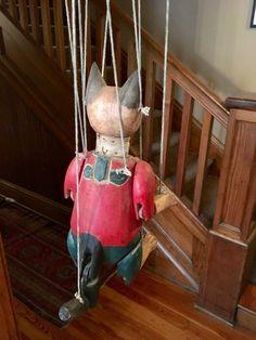 Folk Art Hand Carved Wooden Cat Marionette. Very Beautiful. | eBay