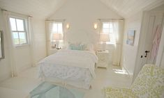 bright coastal bedroom - really love the little turquoise rug and the chartreuse and white chair Coastal Bedrooms, Coastal Living Rooms, Coastal Cottage, Cottage Homes, House Of Turquoise, Turquoise Rug, Pastel Bedroom, White Bedroom, Bright Homes