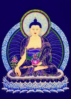 Medicine Buddha 6 Canvas Print / Canvas Art by Jeelan Clark Lotus Buddha, Art Buddha, Buddha Buddhism, Tibetan Buddhism, Buddhist Symbols, Buddhist Texts, Buddhist Prayer, Meditation, Good Vibes