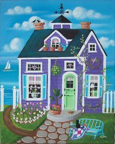 Etsy の Tulip Time Cottage Folk Art Print by KimsCottageArt