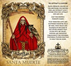 The Vodou Store Candle Label - Santa Muerte (To attract a lover) - Used to attract the love of a specific person. A red candle should be used with this label. Verona, Santa Muerte Prayer, Prayer For Love, Mexico Day Of The Dead, Capricorn And Virgo, Satanic Art, Color Meanings, Sugar Skull Art, Candle Labels
