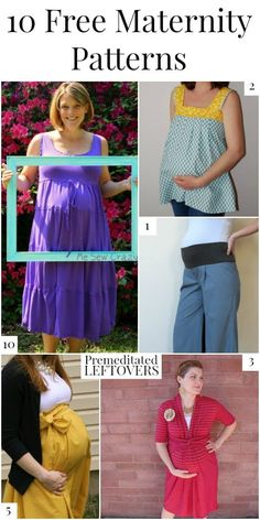 10 free maternity patterns, including a tutorial on how to turn any pants into maternity pants, patterns for maternity dresses, and DIY maternity tops. Maternity fashion for women. Baby bump style and outfit ideas. Includes maternity sewing patterns for shirt, dress, skirt, pants, and more