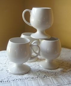 Vintage Toscany, Coffee Mugs, Creamy White, Pedestal Goblet Design, Classic Elegance, Everyday Entertaining, Set of 4, Mix and Match, Japan by BrindleDogVintage on Etsy