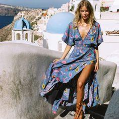 6f9a80b9528a Jastie Lovebird Gown Women Dress Retro Bohemian Maxi Dresses Sexy V-Neck  Open back BOHO beach Dress Boho Hippie Female Vestidos