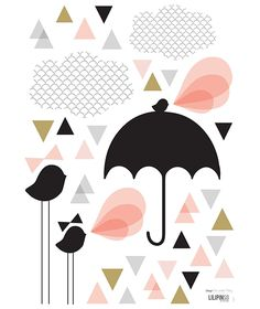 stickers-triangle-oiseau-parapluie-rose-noir-fille-chambre-bebe-enfant-lilipinso-S0665-IMG01.jpg (548×651)