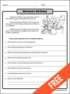 Printable Reading Comprehension Worksheets For 3rd Grade #2