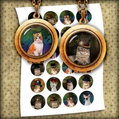 Steampunk Cats - Digital Collage Sheet - Bottle cap Images 1 inch, 25mm, 1.5 inch Printable Images - Instant Download
