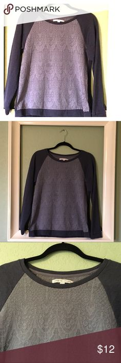 """Adrienne Vittadini Sweater-Sweatshirt Adrienne Vittadini Sweater-Sweatshirt ~ Fabric is incredibly soft ~ 57% Polyester, 23% Cotton, 20% Rayon ~ UA to UA is approximately 19"""" ~ Length is approximately 24"""" ~ Minor Wash Wear ~ Navy Blue & Heather Gray ~ Beautiful top! Adrienne Vittadini Tops Sweatshirts & Hoodies"""