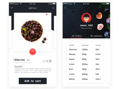 Recipe Fruits Interface