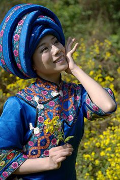 Tujia Chinese woman 中国土家女: I love everything about this picture; her smile is cute, her clothes are beautiful, and she is made in the image of God!