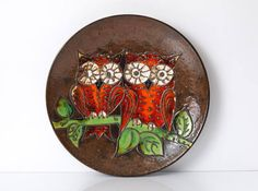 Large Fat Lava Wall Plate w Owls by Ruscha West German
