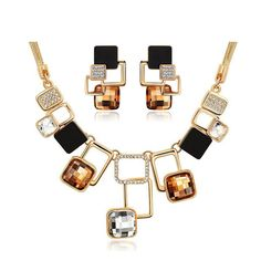 Ikeacasa Trendy Jewelry sets New Fashion Gold-color Filled Rhinestone  Crystal Acrylic Geometric Necklace Earring Jewellery Set For Women - FREE  SHIPPING 7c6b39f72c4f