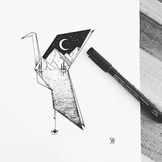 #Drawing #Bird #Origami #Design Illustration, Tattoo, Sketch, Geometry - Photo by @blackworknow - Follow #extremegentleman for more pics like this!