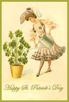 Vintage St Patricks Day Card with a bonny lass! Description from pinterest.com. I searched for this on bing.com/images