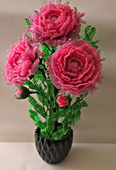 OK French Beaded Flowers, Wire Flowers, Fabric Flowers, Tree Centerpieces, Beads And Wire, Tree Art, Bead Crafts, Lily, Christmas Tree