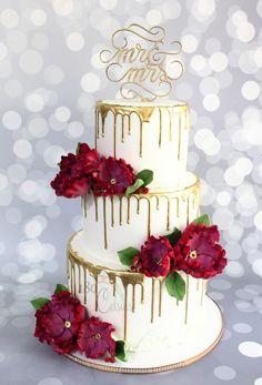 The Golden Drip Wedding Cake  by Joonie Tan - http://cakesdecor.com/cakes/254985-the-golden-drip-wedding-cake
