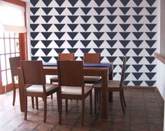Stencil for Walls - Mod Triangle PATTERN - Allover Wall STENCIL - DIY Modern Home Decor. 34.95, via Etsy.