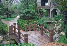 WPC garden design products. Wood Plastic Composite BRIDGE-RAILING IDEA.