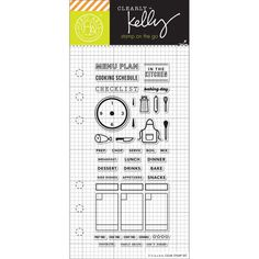 """Cooking Planner Stamps Kelly Purkey Clear Stamps 2.5""""X6"""""""